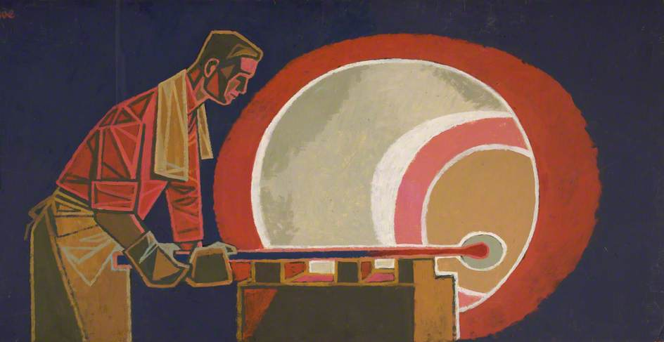 Glassblower at Red Furnace by Cliff Rowe | Art Reproduction | WahooArt.com