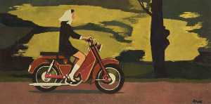 Cliff Rowe - Woman on Moped