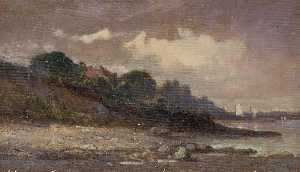 Edward Mitchell Bannister - Untitled (shoreline with sailboats and roof)