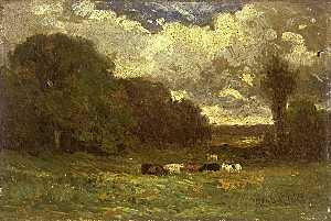 Edward Mitchell Bannister - Untitled (landscape with cows and trees)