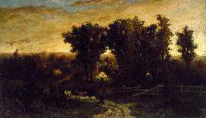Edward Mitchell Bannister - Untitled (woman with cattle and sheep at dusk)