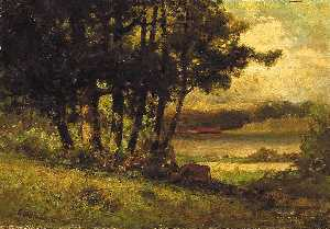 Edward Mitchell Bannister - Untitled (landscape with cows grazing near river)