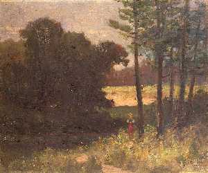Edward Mitchell Bannister - Untitled (landscape with trees and woman)