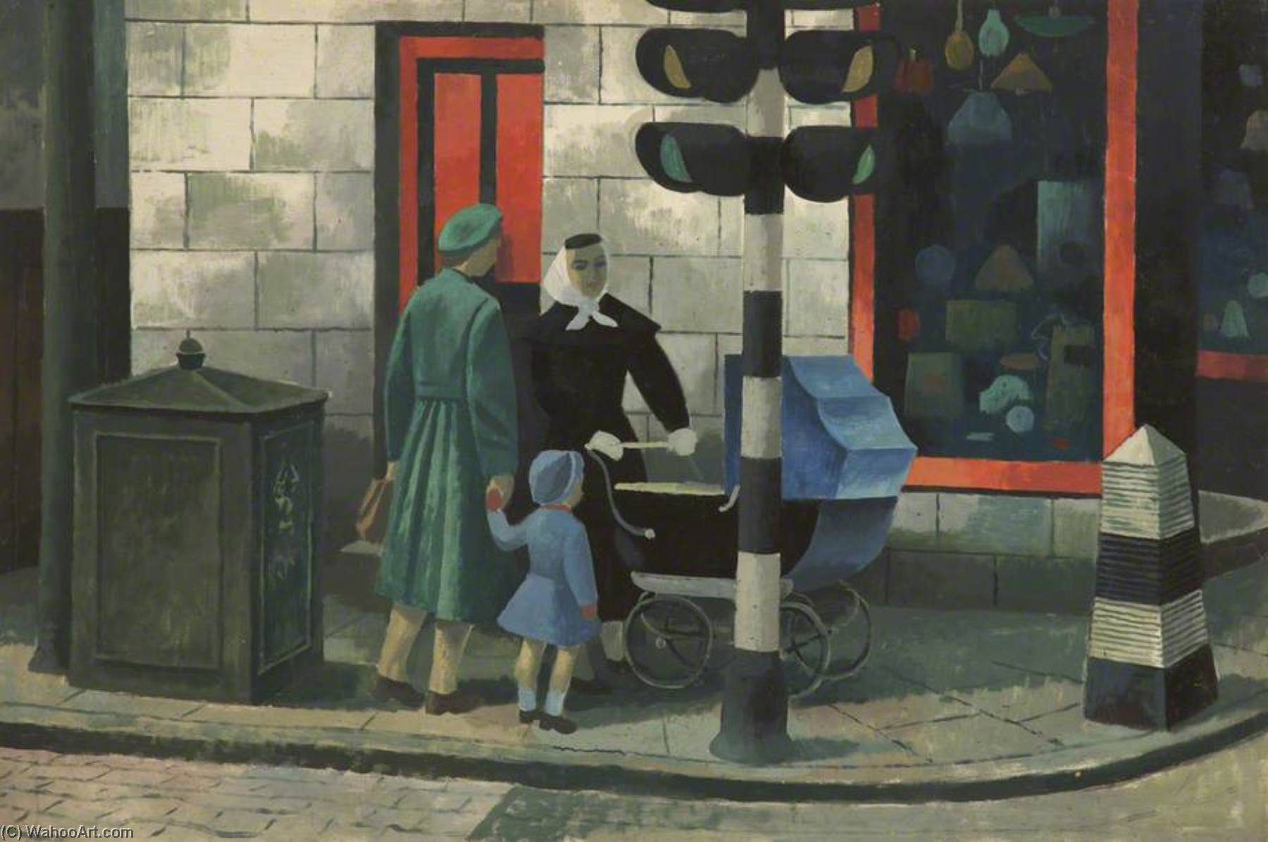 Women and Pram, Oil by Cliff Rowe