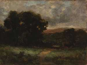 Edward Mitchell Bannister - Untitled (landscape with meadow and trees)