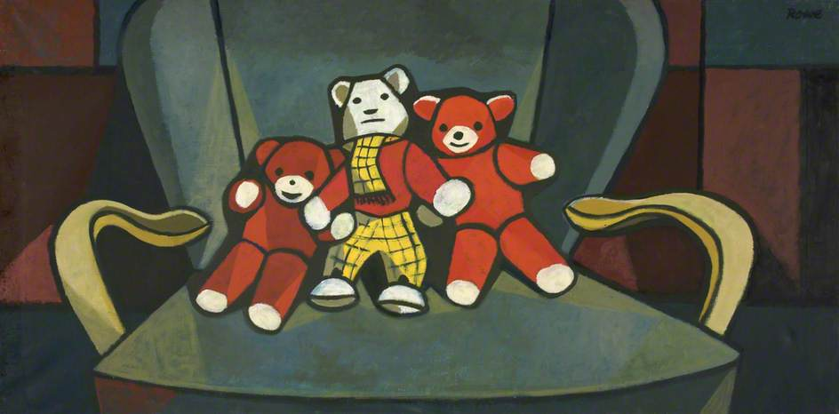 Three Toy Bears, Oil On Canvas by Cliff Rowe