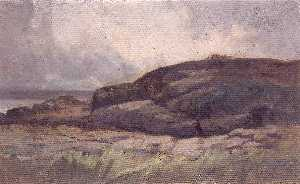 Edward Mitchell Bannister - Untitled (landscape with rocks)