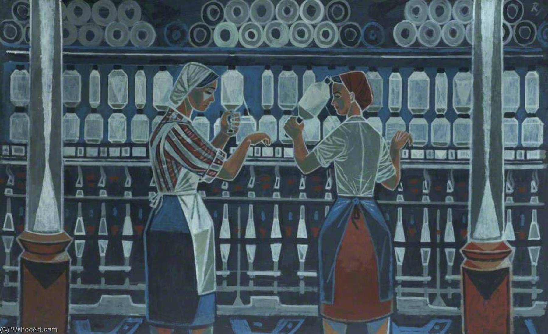 Textile Workers, Oil by Cliff Rowe