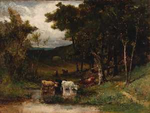Edward Mitchell Bannister - Untitled (landscape with cows in stream near trees)