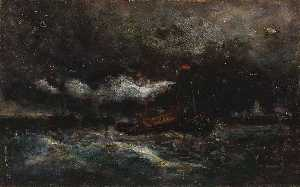 Edward Mitchell Bannister - Squall, Brenton Light (boat in storm, lighthouse in background)