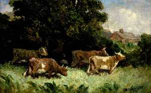 Edward Mitchell Bannister - Untitled (five cows in pasture, rooftop in background)