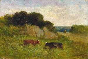 Edward Mitchell Bannister - Untitled (landscape with two cows)