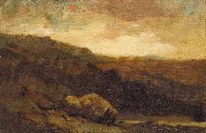 Edward Mitchell Bannister - Untitled (mountainous landscape with rock and stream in foreground)
