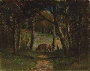Edward Mitchell Bannister - Untitled (cows on path in forest)