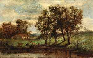 Edward Mitchell Bannister - Untitled (man with cows grazing near pond with house and trees in background)