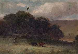 Edward Mitchell Bannister - Untitled (landscape with trees and two cows in meadow)