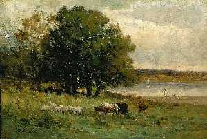 Edward Mitchell Bannister - Untitled (cattle near river with sailboat in distance)