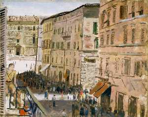 Carel Victor Morlais Weight - A Street Scene from the Officers' Mess, Perugia, Italy