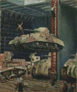 Bernard Hailstone - Damaged Tanks Being Lowered into the Hold of a Merchant Ship