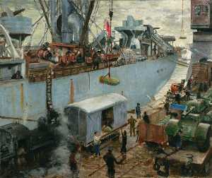 Bernard Hailstone - Loading Ammuniton at Hull Docks