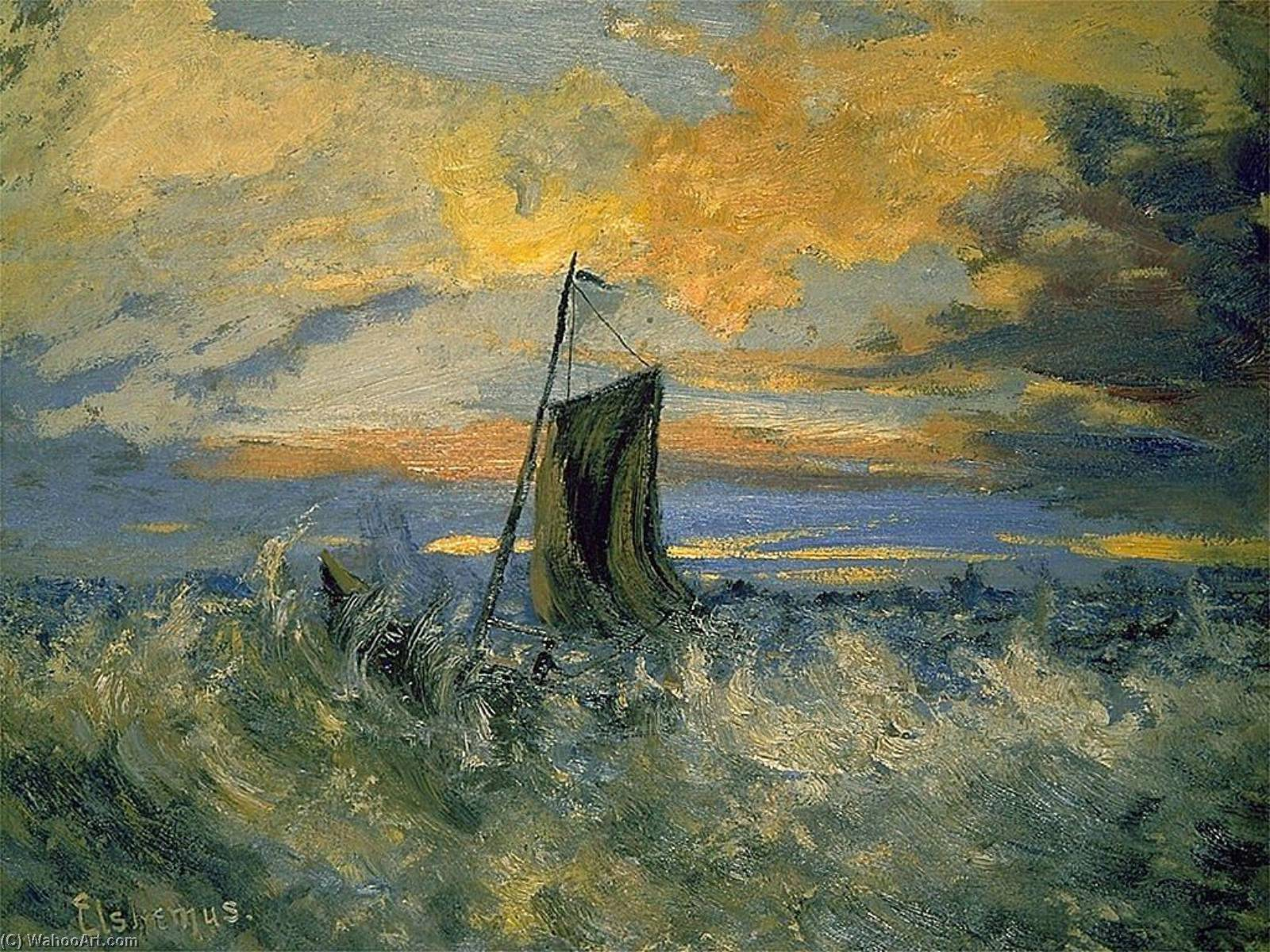 Sailboat, Stormy Sea, Paper by Louis Michel Eilshemius (1864-1941, United States)