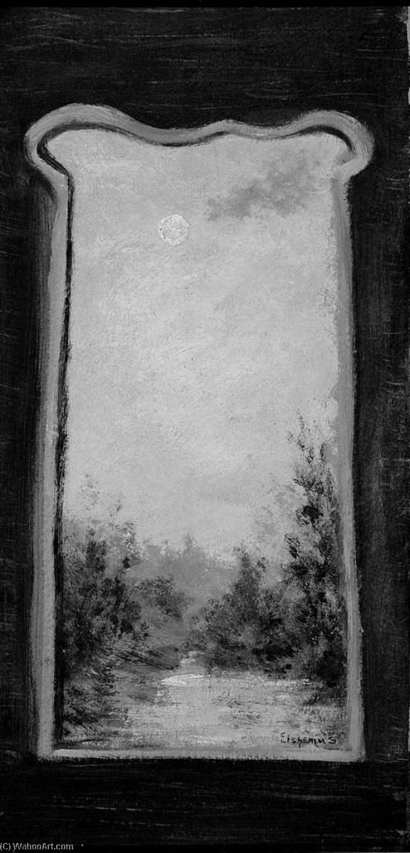 Moonlit Landscape, Through Keyhole, Oil by Louis Michel Eilshemius (1864-1941, United States)