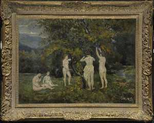 Louis Michel Eilshemius - Five Nudes in a Grape Arbor