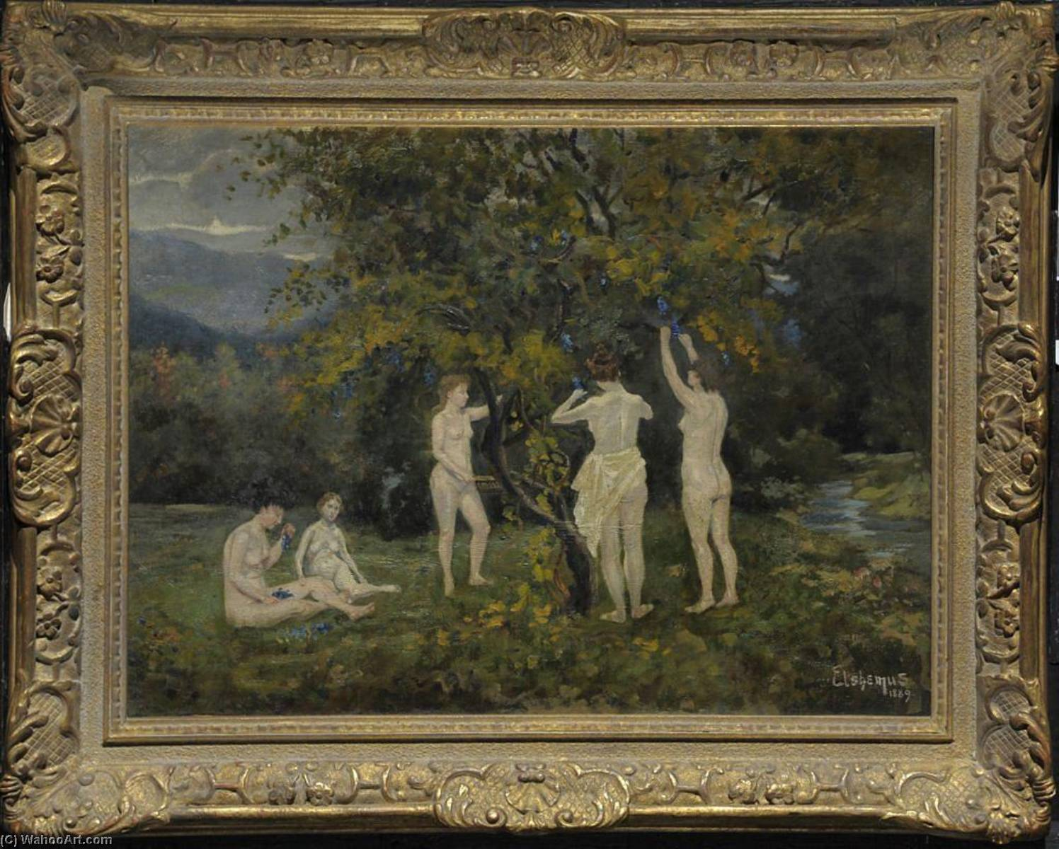 Five Nudes in a Grape Arbor, Oil On Canvas by Louis Michel Eilshemius (1864-1941, United States)