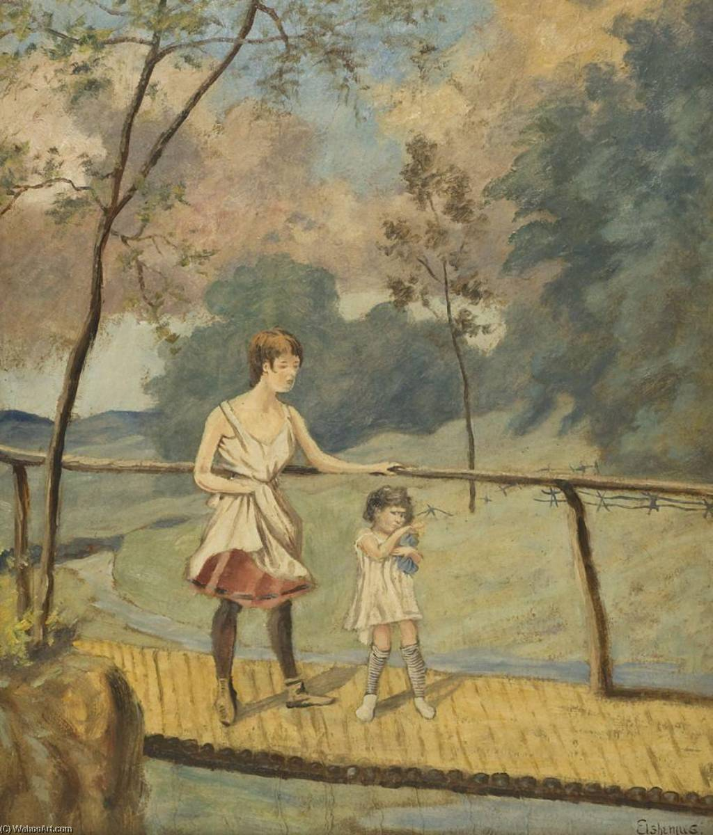 Two Girls on a Log Bridge, Paper by Louis Michel Eilshemius (1864-1941, United States)