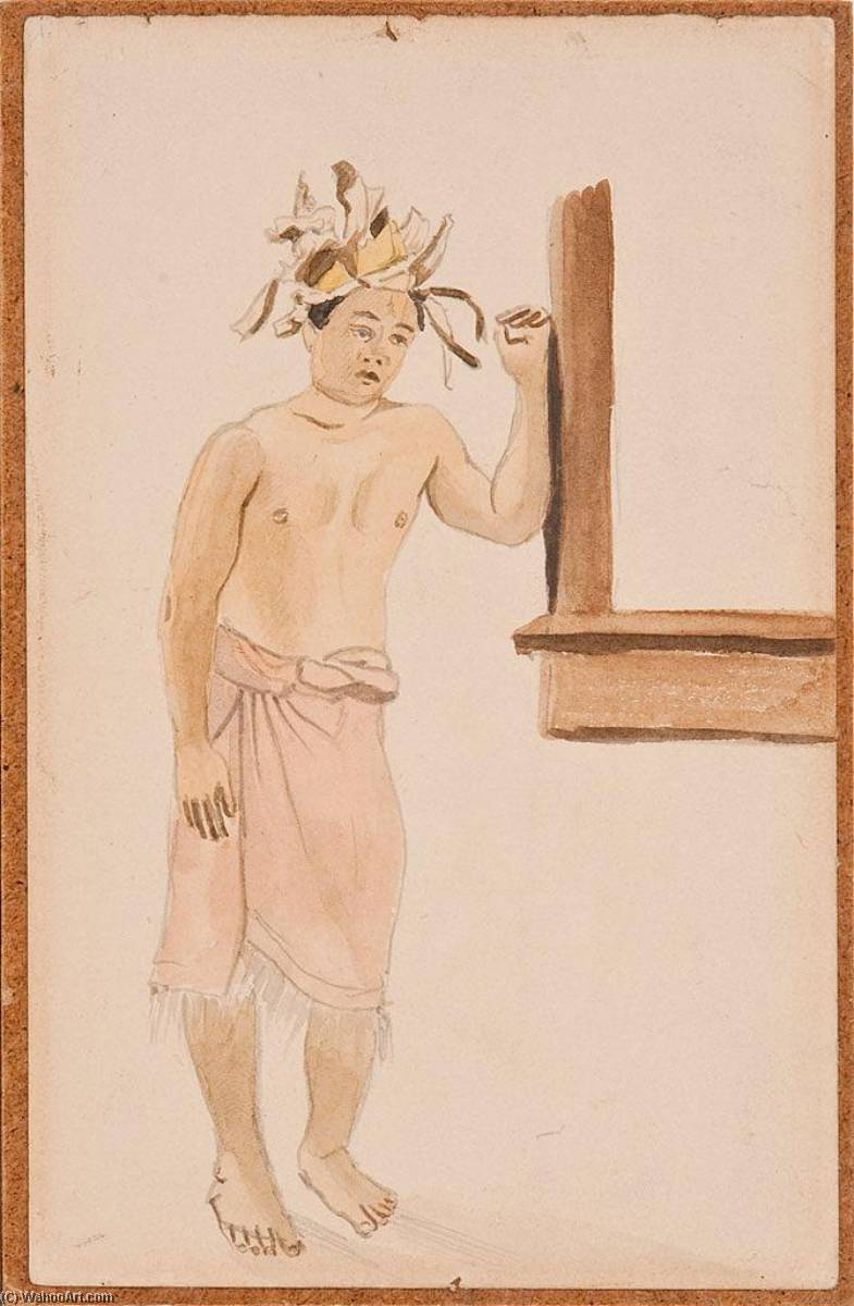 Male Figure Native Leaning Against A Wall, Watercolour by Louis Michel Eilshemius (1864-1941, United States)