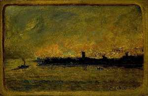 Louis Michel Eilshemius - Fire On Bremen Dock