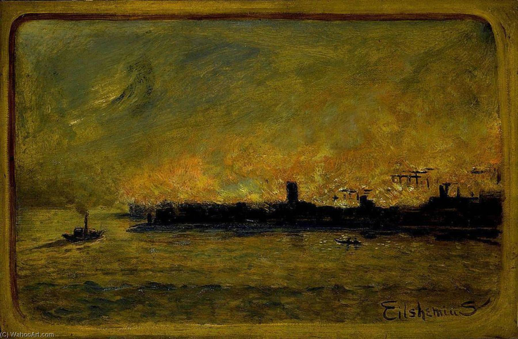 Fire On Bremen Dock, Paper by Louis Michel Eilshemius (1864-1941, United States)