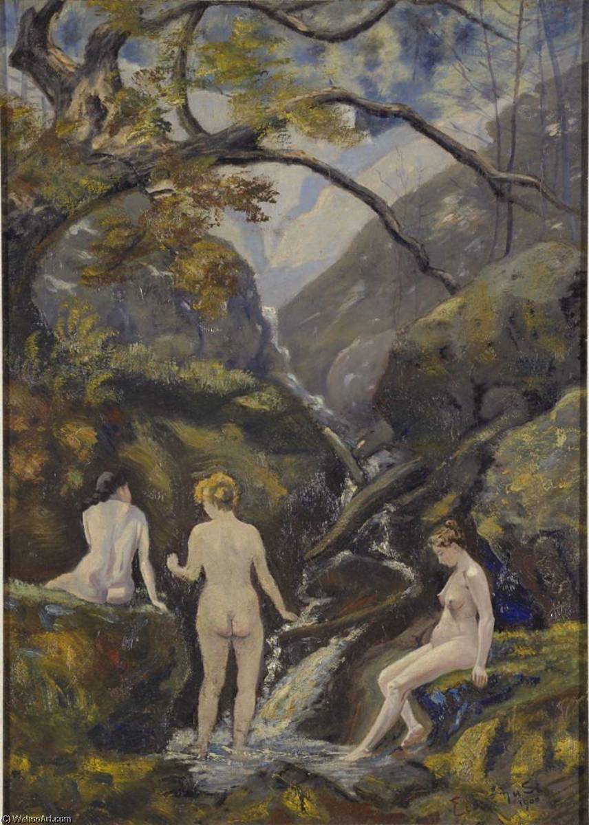 Mountain Stream (Three Nudes At A Mountain Creek), Oil On Canvas by Louis Michel Eilshemius (1864-1941, United States)