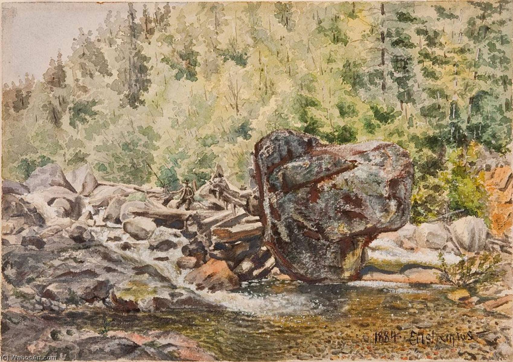 Fishermen in Rapids, Gouache by Louis Michel Eilshemius (1864-1941, United States)