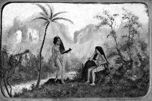 Louis Michel Eilshemius - Two Nymphs by a Palm Tree