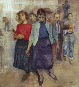 Raphael Soyer - Farewell to Lincoln Square (Pedestrians)