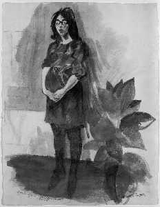 Raphael Soyer - Study for Woman With Plant