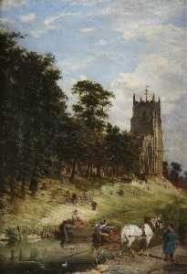 Order Oil Painting : St Mary`s Church and the Canal, Kidderminster, Worcestershire, 1870 by Joseph Kennedy | WahooArt.com