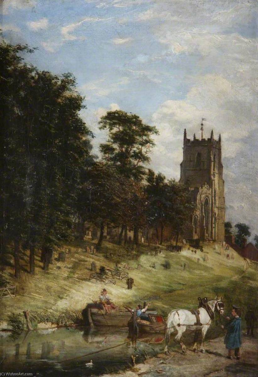 St Mary`s Church and the Canal, Kidderminster, Worcestershire, 1870 by Joseph Kennedy | Oil Painting | WahooArt.com