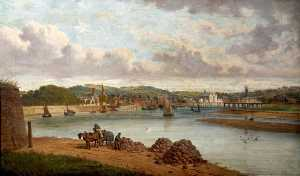 Order Oil Painting : The Construction of the Railway Bridge at Pottington, Devon, 1886 by Joseph Kennedy | WahooArt.com
