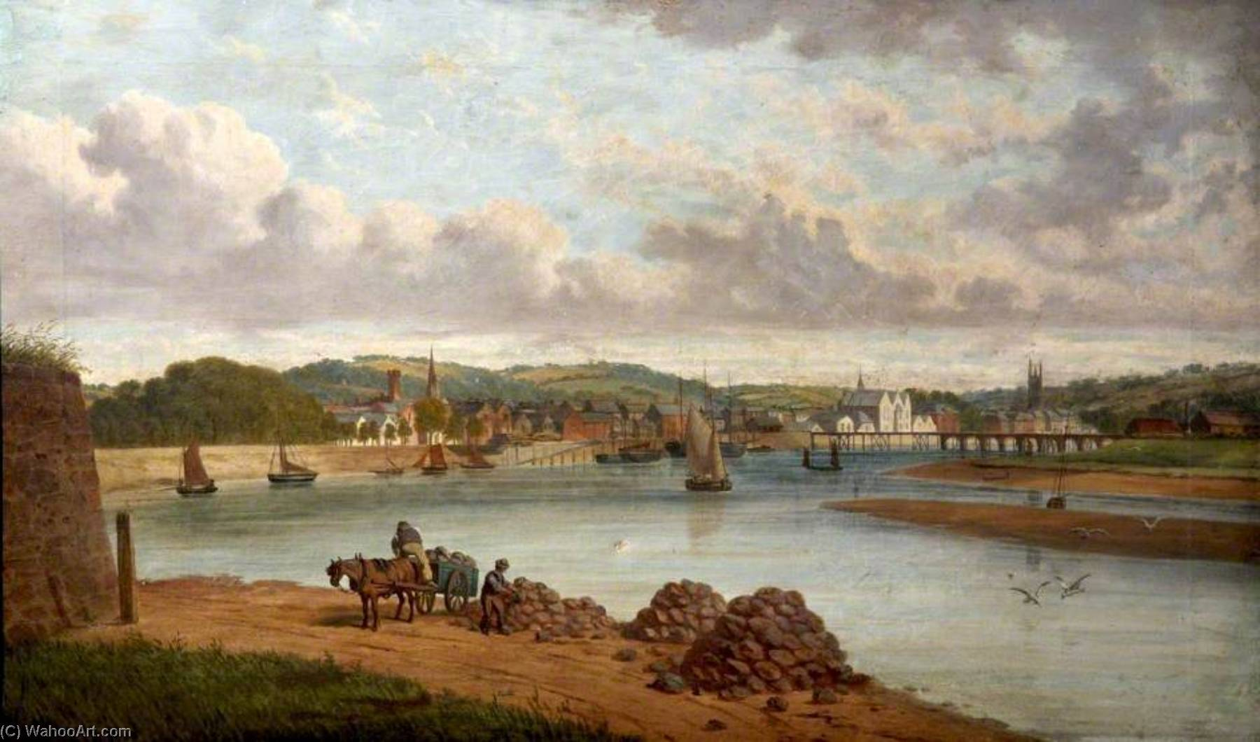 The Construction of the Railway Bridge at Pottington, Devon, 1886 by Joseph Kennedy | Oil Painting | WahooArt.com