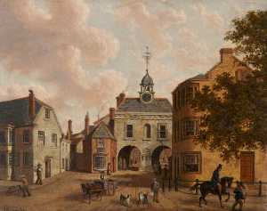 Order Art Reproduction : Old Northgate and the Bluecoat School, Barnstaple, Devon, 1886 by Joseph Kennedy | WahooArt.com