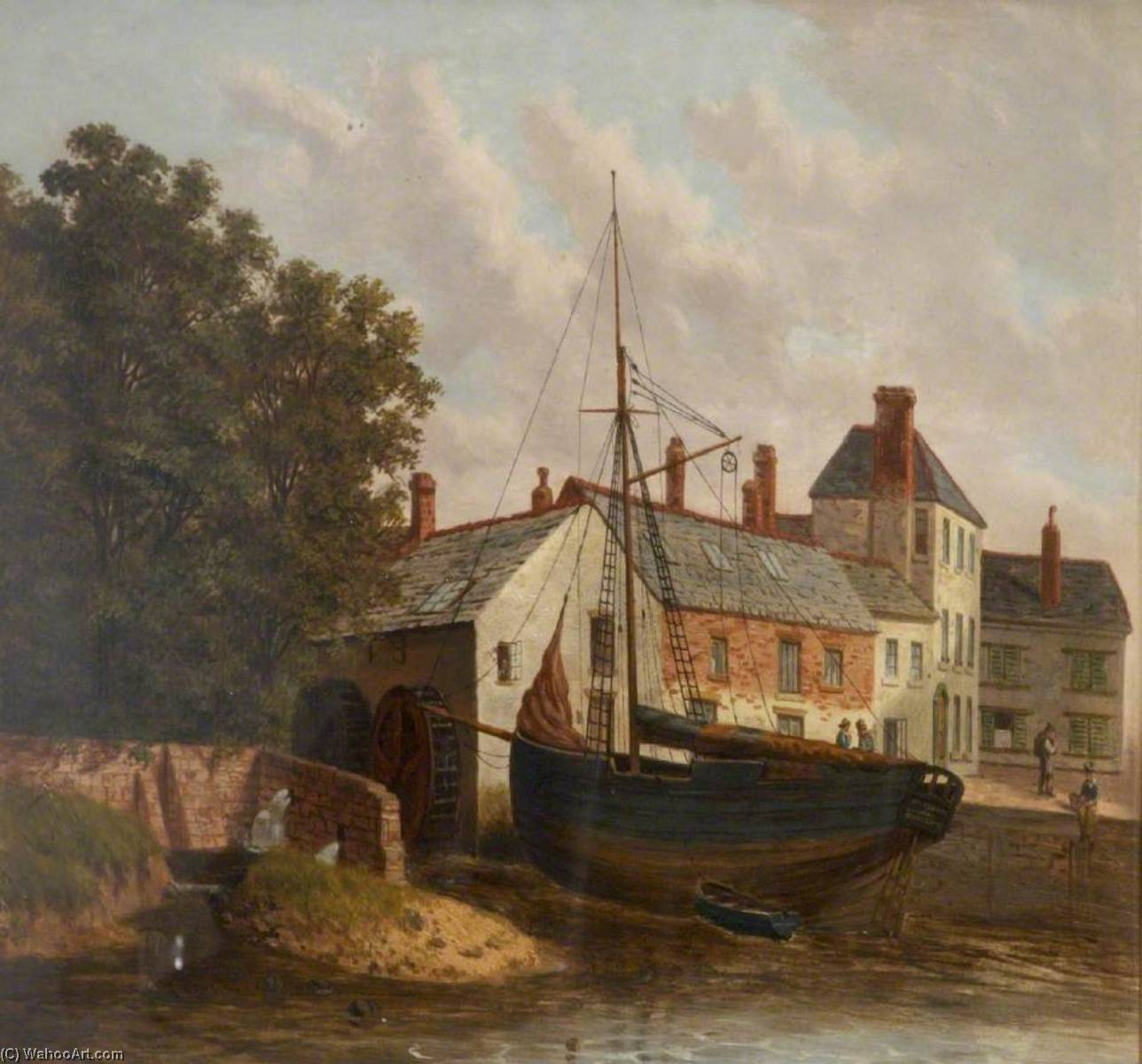 Town Mill with a Ship, Oil by Joseph Kennedy