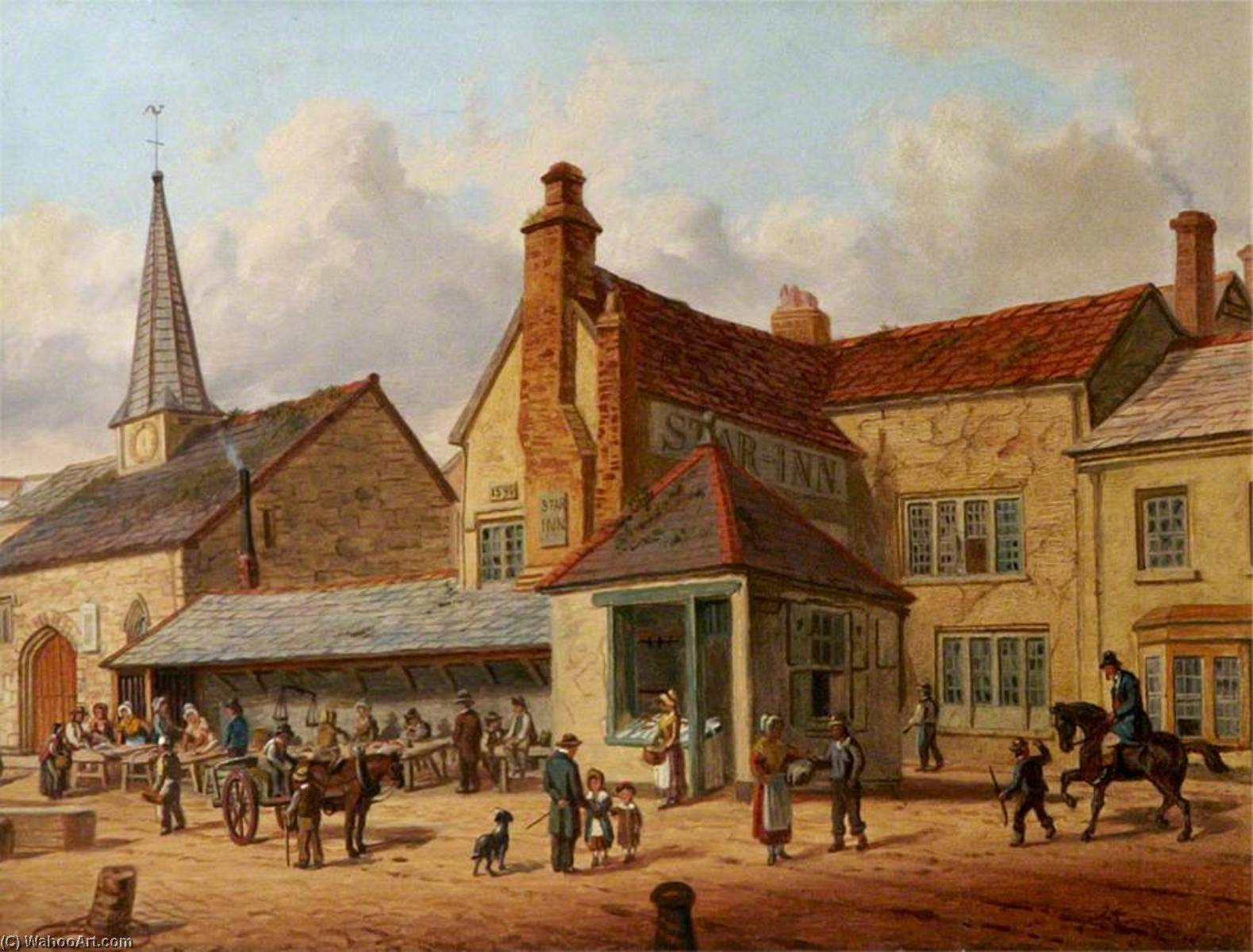 The Fish Shambles, St Nicholas' Chapel and 'The Old Star' Inn, Barnstaple, Devon, Oil On Panel by Joseph Kennedy