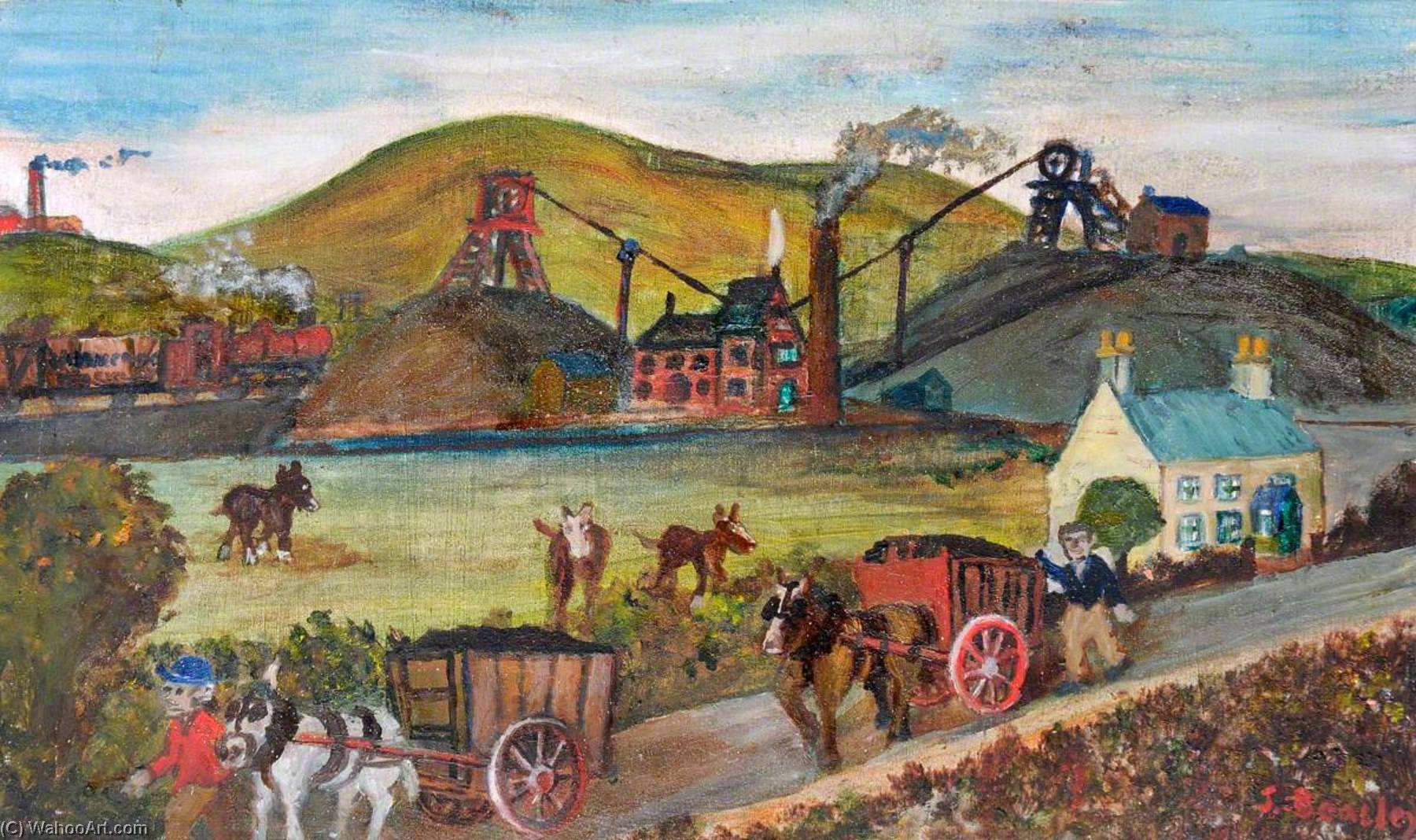 Little Mountain – Ewloe Collieries, 1871, Oil by James Bentley