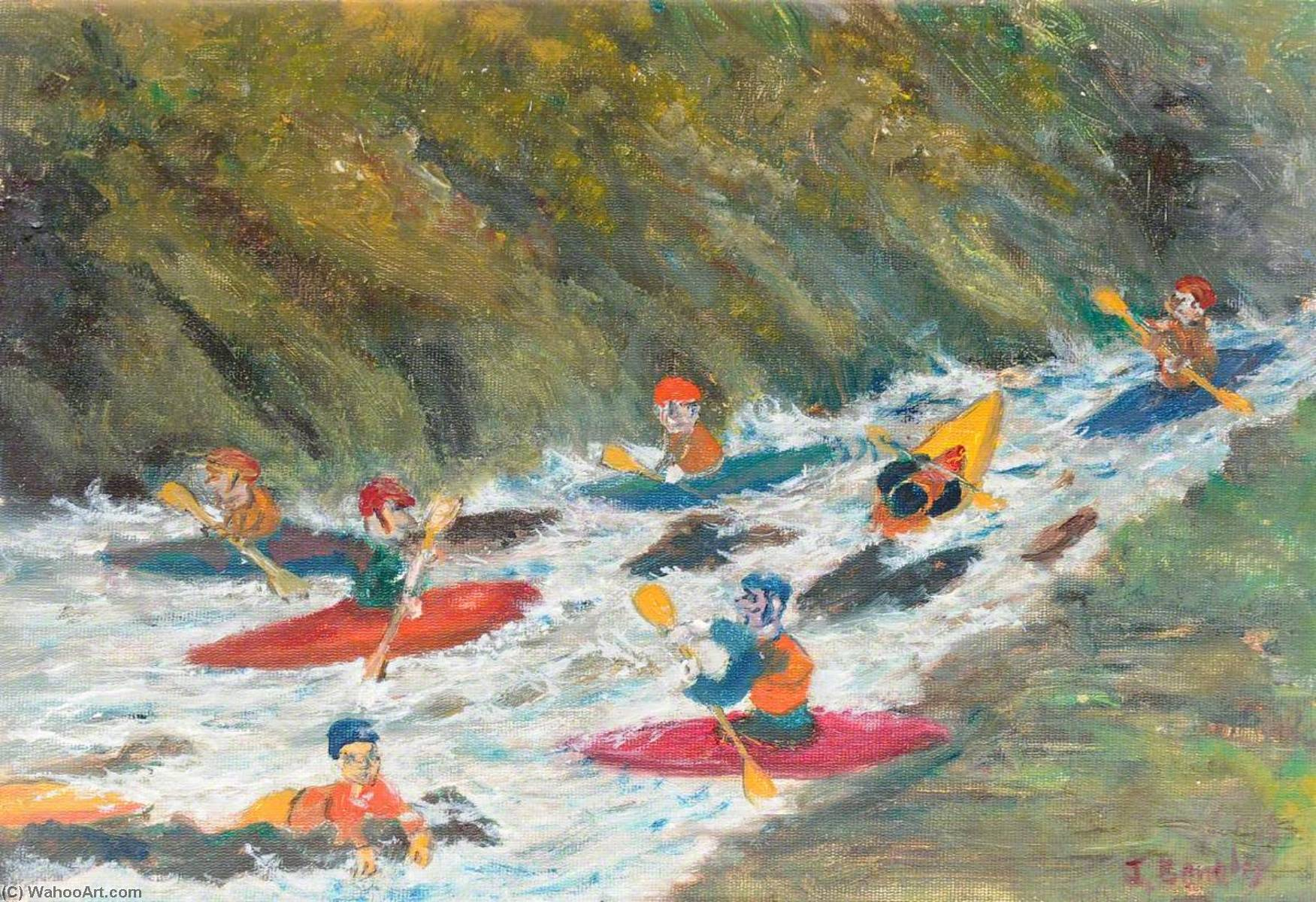 Slalom Practice, Dragon's Fall, Llangollen, Oil On Canvas by James Bentley
