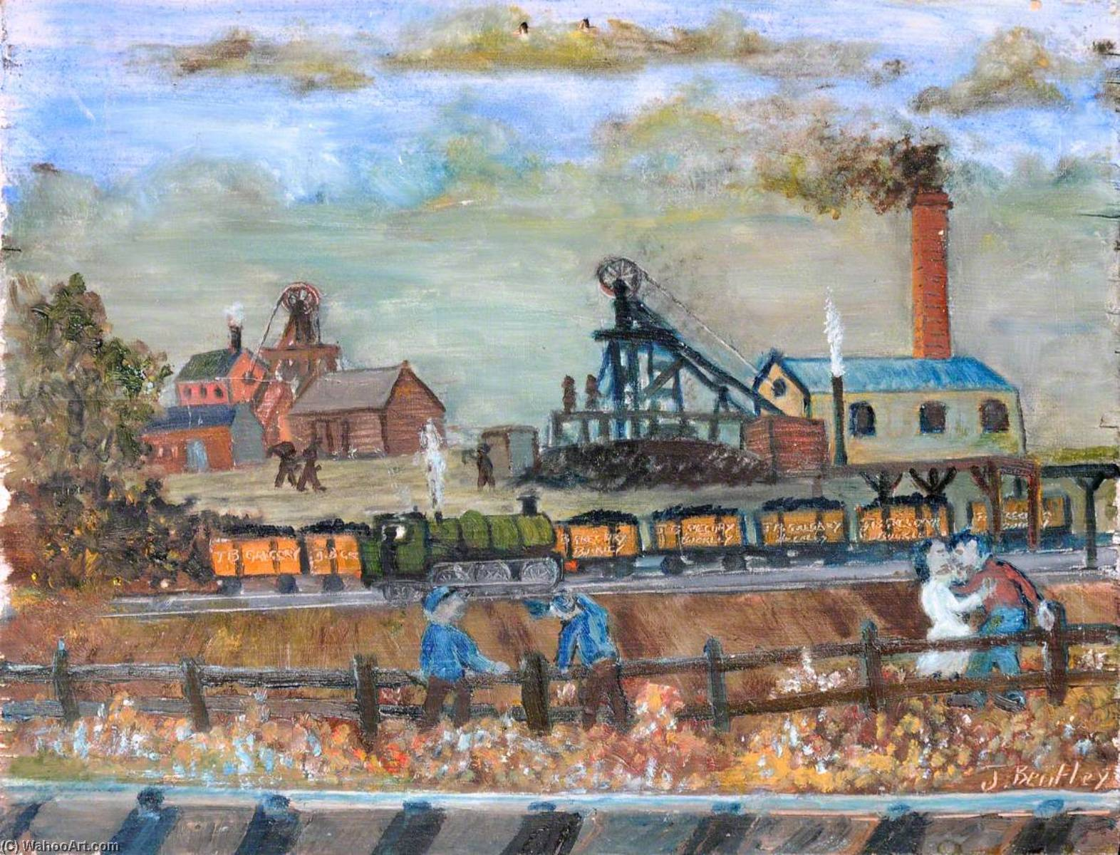 Work and Leisure, Gregory`s Mount Pleasant Colliery, Buckley, c.1880 by James Bentley | Art Reproduction | WahooArt.com