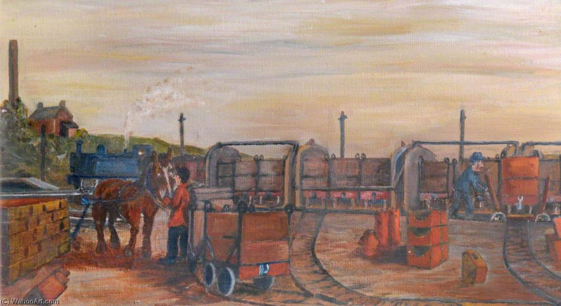 Knowle Hill Exchange Sidings, Buckley, c.1925, Oil On Canvas by James Bentley