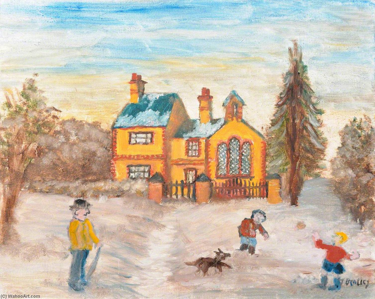 Cemetery House, Buckley, Oil On Canvas by James Bentley