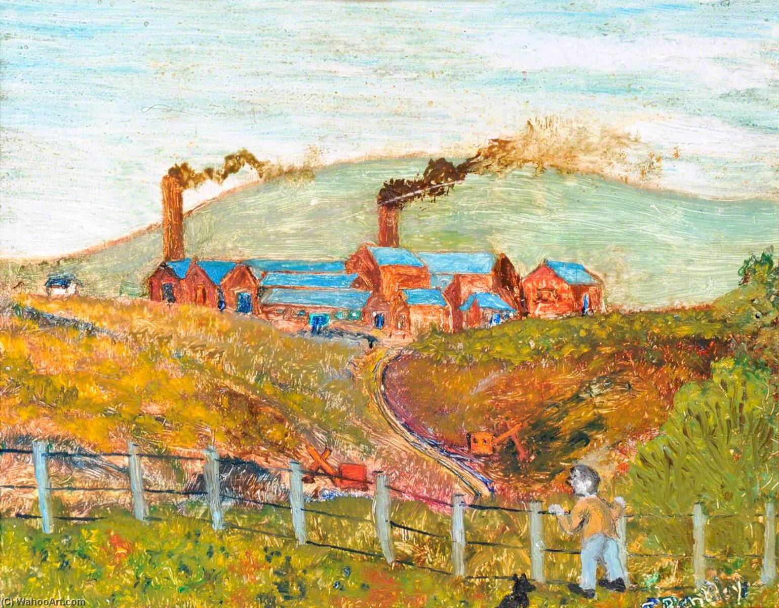 Lane End Brickworks, Buckley, 1996, Oil On Canvas by James Bentley